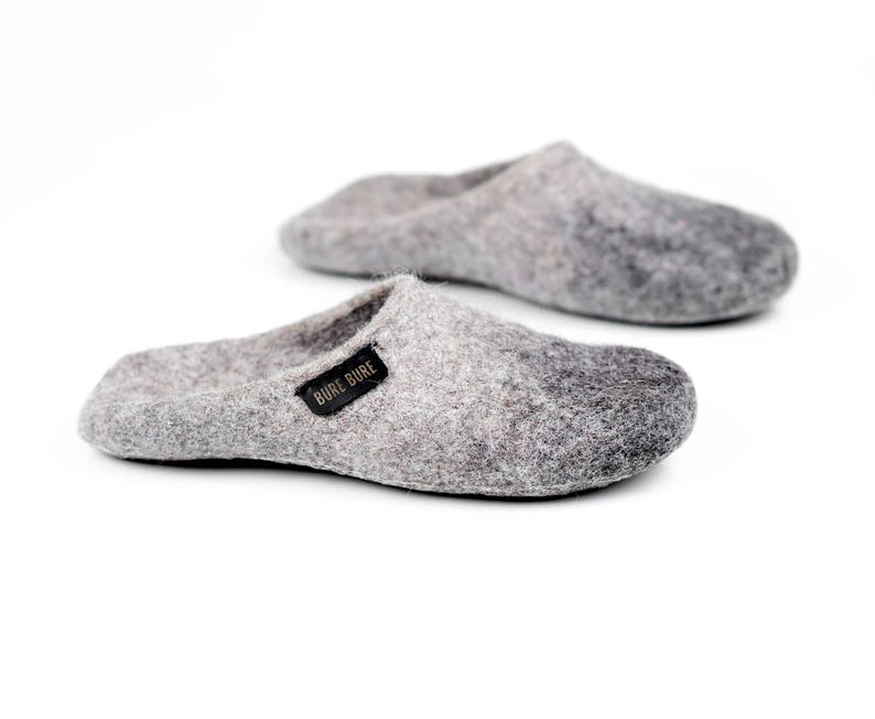 eb4ef9e2d0f83 Alpaca felted wool slide slippers with non slip soles, Grey house slippers  for men Slip on Felted mules