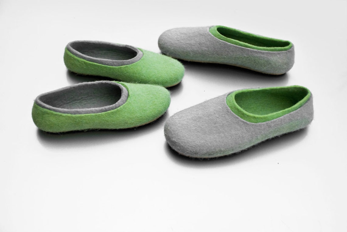 2 pairs Parent-Child matching felted wool slippers, Family slippers set, mom and me dad and me, mother son slippers father daughter slippers