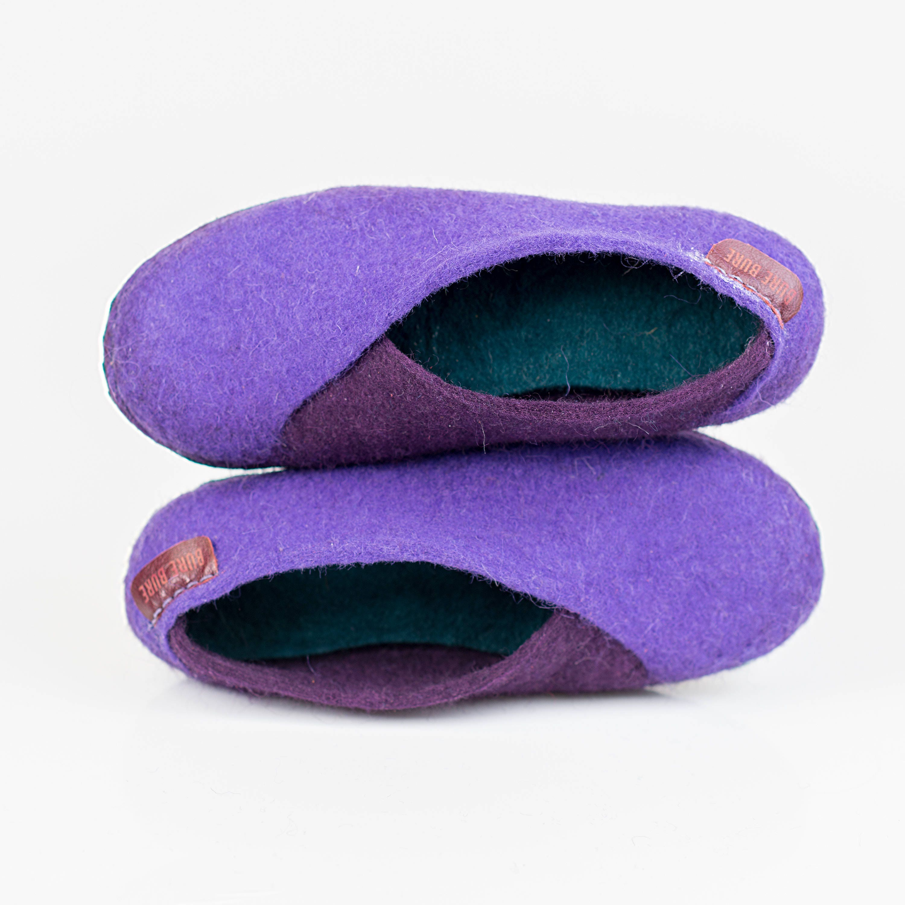 Eco Friendly Slippers: Ultra Violet Olive Envelope Slippers Felted Wool Slippers