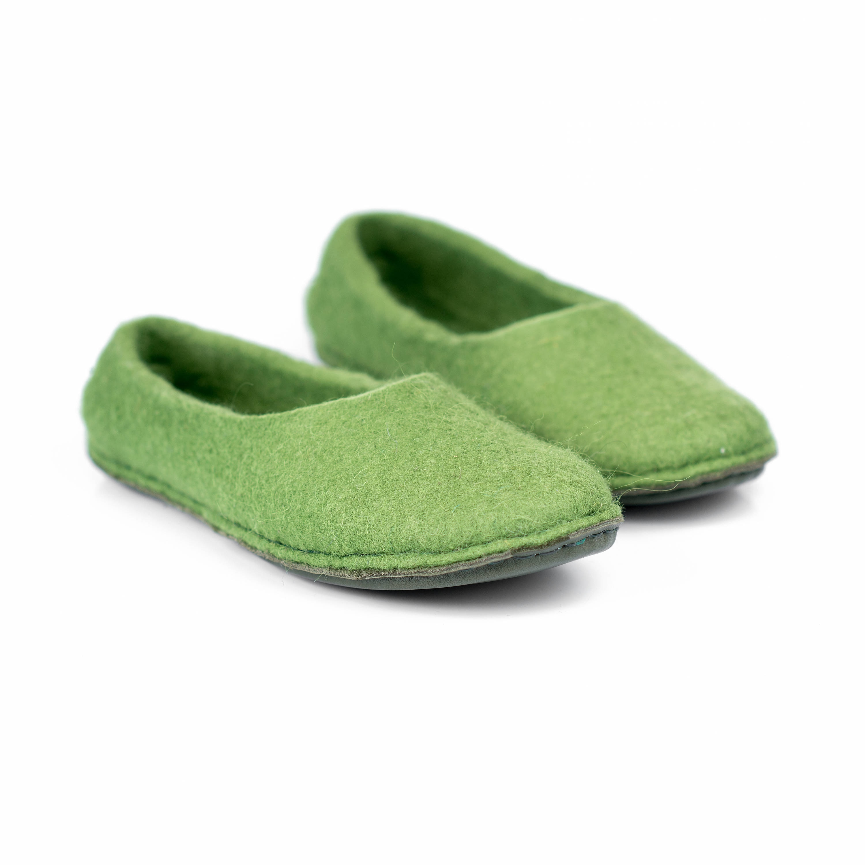07206d56f Olive green women wool slippers, felted wool slippers for women ...