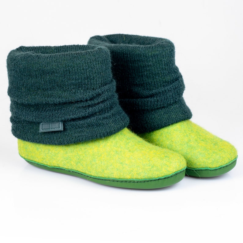 556a8d744942c Spring green wool ankle boots for women with knitted leg warmers warm &  cozy handcrafted Bure Bure slippers