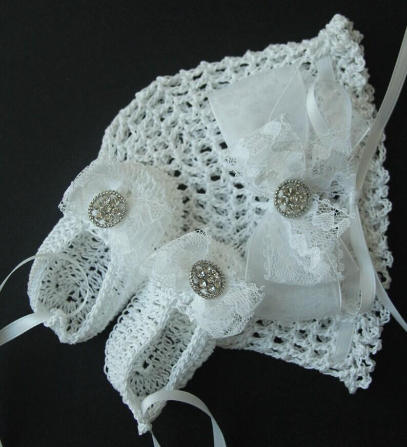 7d9c964df Crochet Newborn Baby Hat Booties Set Baptismal Infant Girl Bonnet Lace Crib  Shoes Christening Knit Baby Beanie Mary Janes Reborn Doll Cap
