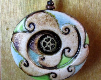Clock Gear Spiral with Green Waves and Blue Waves. Necklace.  One of a Kind