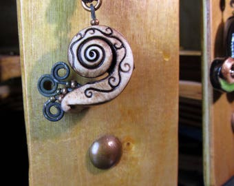 Snail. Ancient Modern Necklace.  One of a Kind
