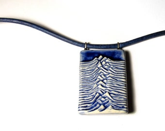 """Custom Order. Unknown Pleasures. Joy Division. Pulsar. Necklace with Blue Leather. Any length up to 19"""""""
