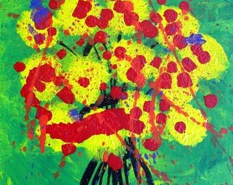 """Yellow and Red Flowers 11"""" x 14"""" Acrylic Original Painting on Canvas Board with Bright Colors on Green Background Flowers in Vase"""