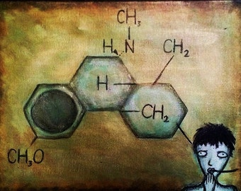 "Dextromethorphan (DXM) Molecule Acrylic Surrealist Art Painting 12"" x 16"" on Gallery Wrapped Canvas 1 3/8"" deep Gold Metallic Chemistry Art"
