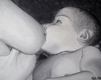 "Nursing Breastfeeding Baby 12"" x 16"" Black and White Newborn Infant Acrylic Medium Original Painting Realism Art for Mothers"