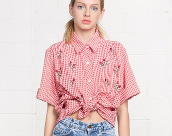 GINGHAM EMBROIDERED SHIRT top blouse Collared Roses 90S red white spring summer short sleeves / Small
