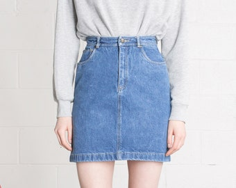705553d136 26 Inch Waist / Size 4 5 / DENIM SKIRT MINI 90S mini jean pencil vintage  woman Lizwear basics Summer