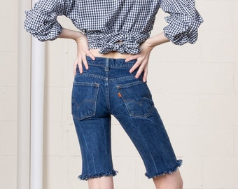 51a15194 35 Inch Hips / Size 2 / LONGLINE LEVIS SHORTS cut offs vintage woman Small  Xs