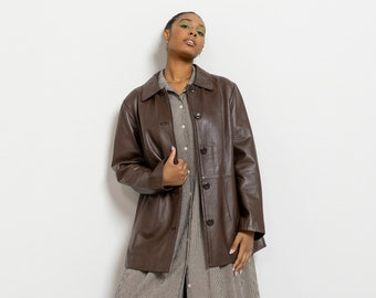 BROWN LEATHER JACKET Vintage Coat Woman Spring Fall 90's Oversize / Large