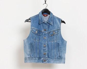 LEE DENIM VEST Vintage Blue Jean Medium Wash Sleeveless Cotton Jacket 70's Oversize / Small Medium
