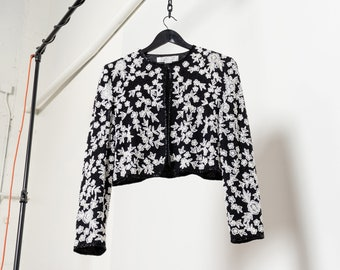 SEQUIN CROP TOP long sleeve jacket Heavy Beaded vintage sparkly glam party top / Small