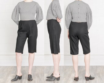 BLACK LINEN SHORTS high waist vintage minimal modern 90s woman capris / Size 10 11 / 31 Inch Waist