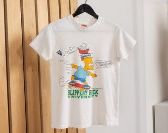 BART SIMPSON TEE Vintage White Cotton Simpsons Skateboard Slippery Rock University Graphic T-Shirt 90's / Extra Small Xs Xxs