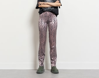 STRETCHY METALLIC TROUSERS vintage y2k low rise stretchy damask pants women / 37 Inch Hips / Size 5