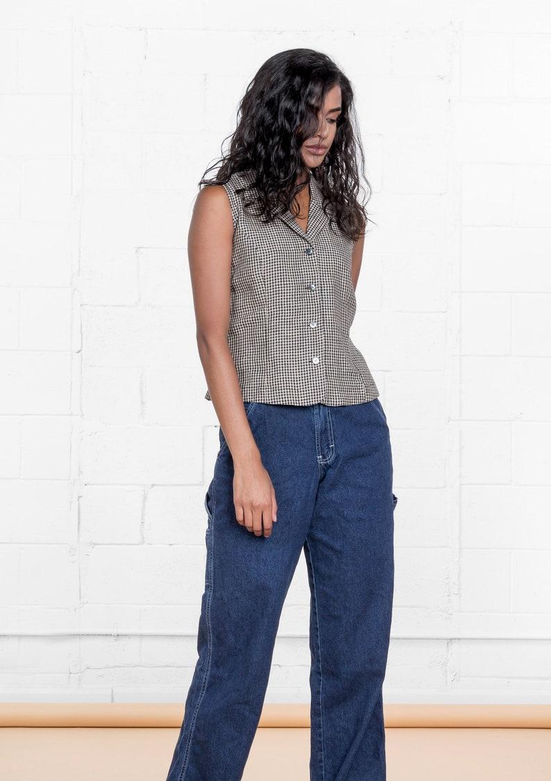 e6dad3e8cb850 GINGHAM LINEN CROP top cropped sleeveless Minimal modern