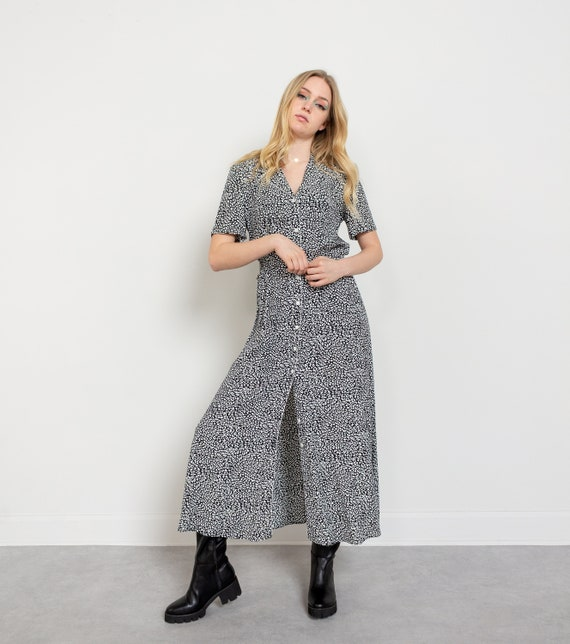 FLOWY MAXI DRESS Vintage Black And White Abstract