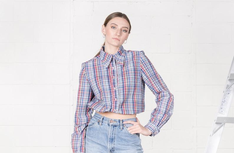 5ddf4210 PLAID SHIRT CROP top woman vintage blue 70s collared shirts | Etsy