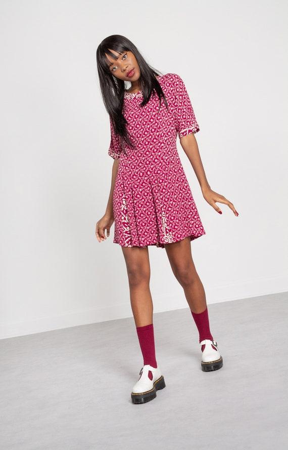 FLORAL MINI DRESS vintage spring summer pink magen