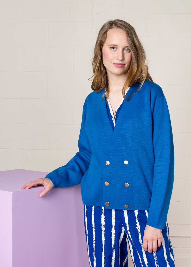 BLUE CARDIGAN SWEATER jumper double breasted fall vintage woman  Small Medium