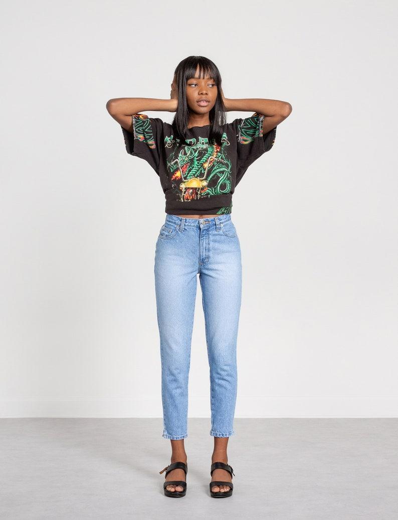 90S JEANS HIGH WAIST vintage women Moda Int/'l denim Faded Capris cropped ankle Skinny denim  36 Inch Hips  Size 2