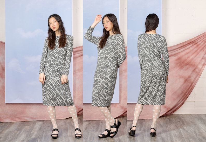 b8daa923c52 SWEATER DRESS LOOSE fit midi vintage Long Sleeves knitwear jumper dresses /  Small Medium
