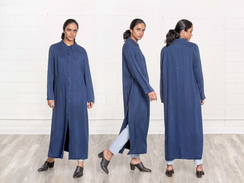 3e6e566e7f SHIRT DRESS MAXI blue collared blouse woman Loose Long