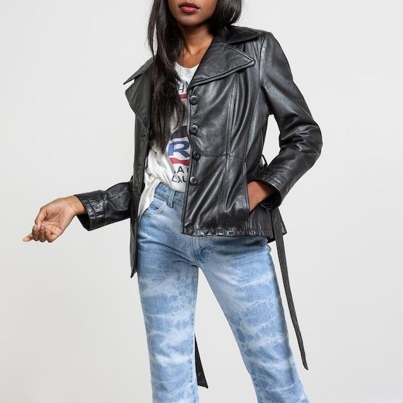 BLACK LEATHER JACKET Vintage Coat Blazer Trench Be