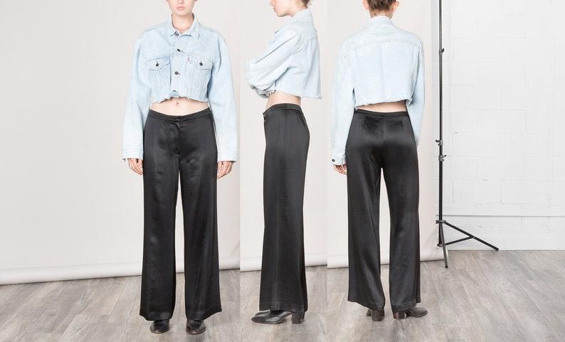 bceb1ab31823 38 39 Inch Hips   Size 6 7   WIDE LEG SATIN pants High Waist