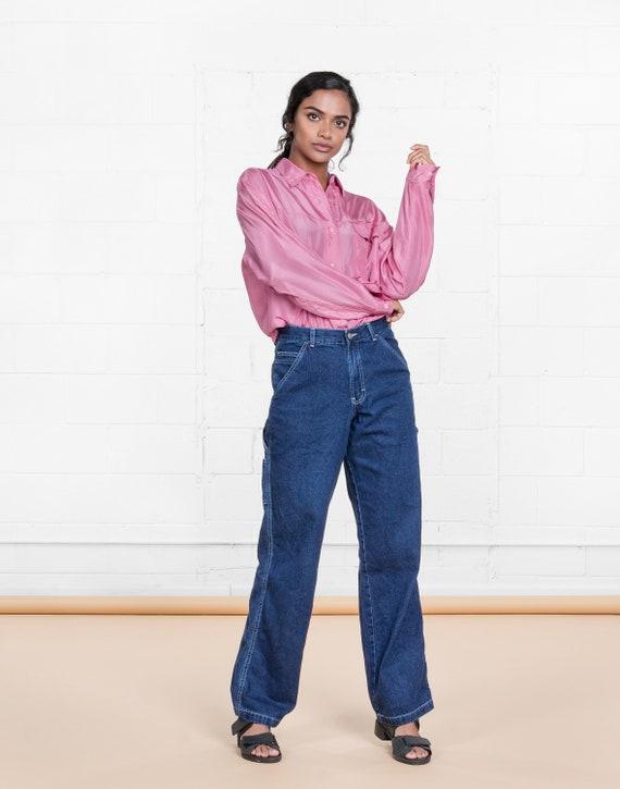 bc8f81286b4cf CHEMISIER de soie rose chemise à col oversize femme vintage   Etsy