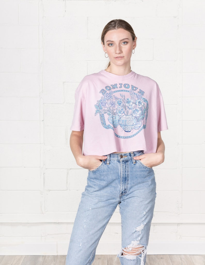 CROPPED 90S TEE T SHIRT vintage women short sleeves flowers floral cute Bonjour  Free Size  Small Medium