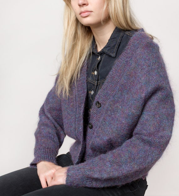 MOHAIR CARDIGAN VINTAGE oversize sweaters jumpers Fall Winter woman  eggplant / Small Medium