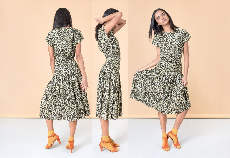 ANIMAL PRINT MAXI dress vintage women flowy pleated skirt 90S  0d6167c7e