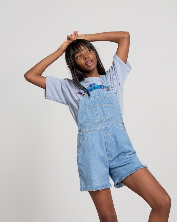 DENIM OVERALL SHORTS Vintage Women Light Blue Jean