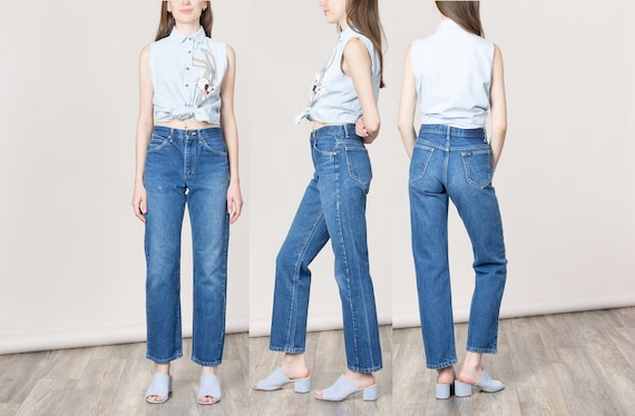 cheap sale new lifestyle factory outlets 38 Inch Hips / Size 6 / LEE HIGH WAIST boyfriend baggy Jeans Woman denim  faded ripped U S A usa made