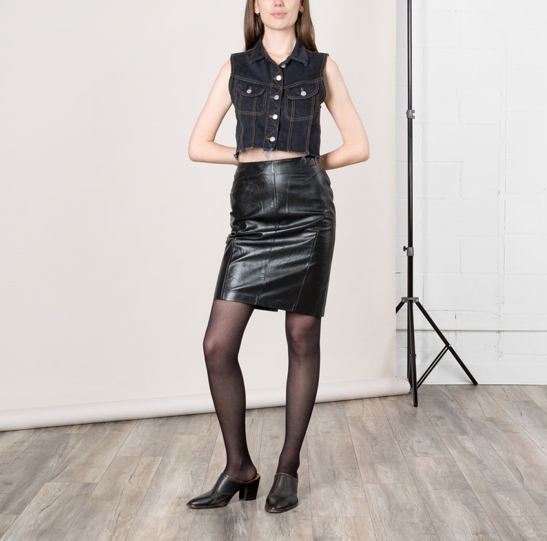 093914d19dc5 26 Inch Waist / Size 2 3 / BLACK LEATHER SKIRT pencil mini | Etsy