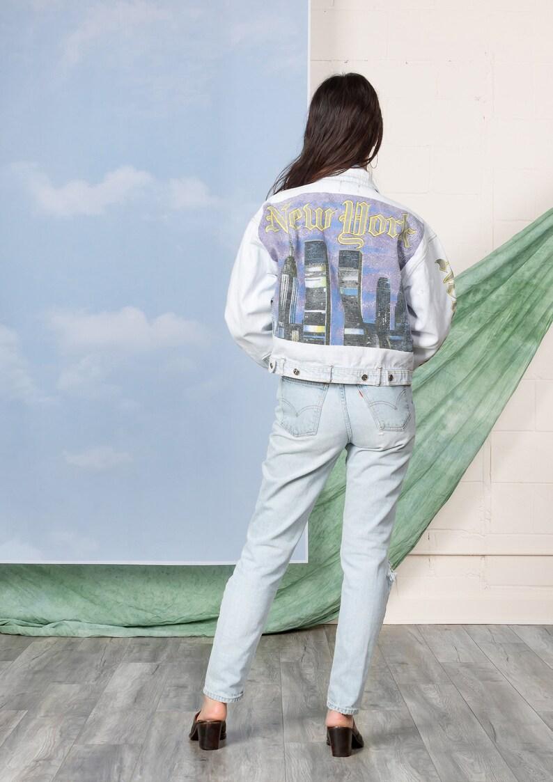 622f1e513c0c8 NEW YORK CITY denim jacket jean vintage 90S woman Oversize Baggy / Medium