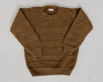 BROWN KNIT SWEATER Vintage Pullover Jumper Hand Knit Crew Neck 90's Oversize / Medium Large