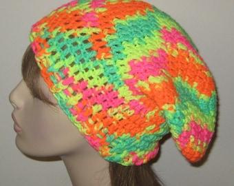 410cbb10562 Day Glow Bright Slouchy Beanie Dread Tam Hat