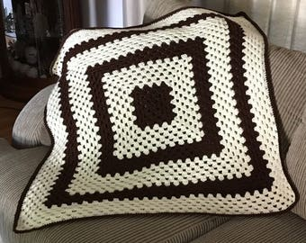 Chocolate and Off White Crochet Granny Baby Blanket