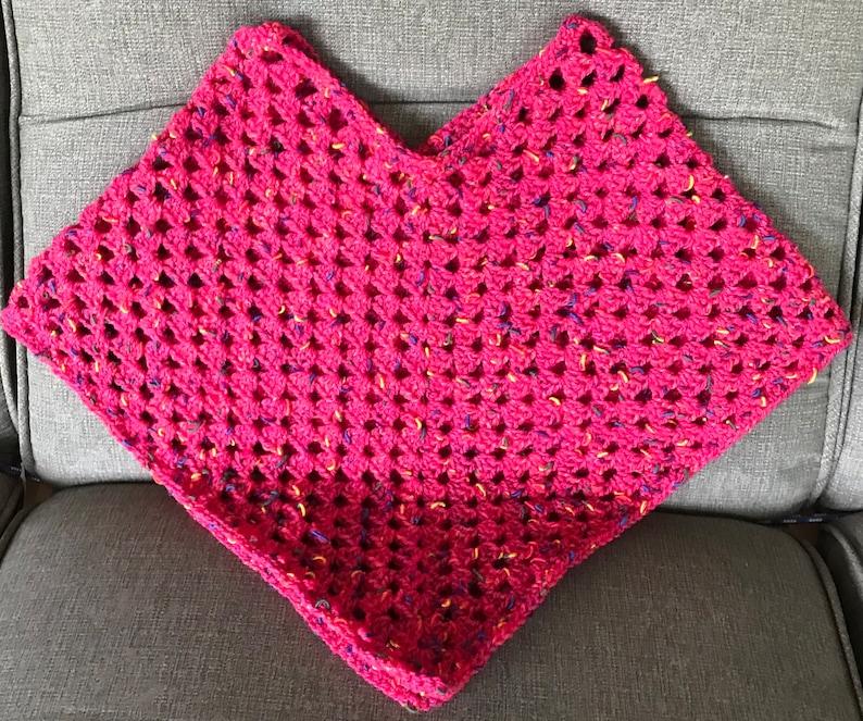 Crochet Girls Poncho in Red