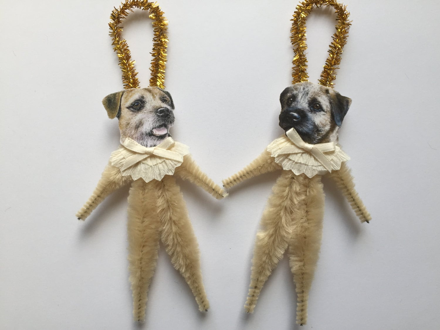 BORDER TERRIER ornaments dog ORNAMENTS vintage style chenille ornaments set  of 2