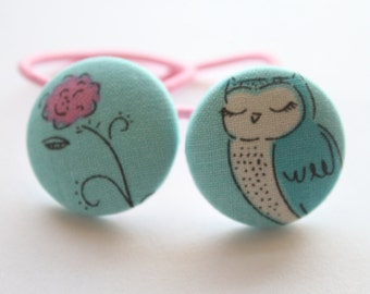 Sleepy OWL and Flower-------2 ponytail holders