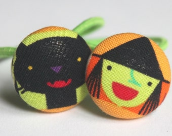 Witch & Cat...... Halloween  Ponytail Holders