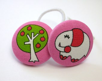 Fun Elephant and Tree.........2 Ponytail Holders