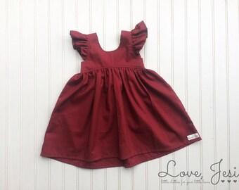 9a82916465f7 Maroon Girls Dress, Fall Girl Dress, Little Girls Christmas Dress, Toddler  Fall Dress, Maroon Baby Dress, Maroon Toddler Dress, Maroon Dress