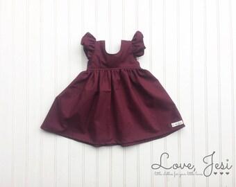 Baby Girls Dress, Little Girls Dresses, Toddler Girls Dress, Fall Dresses Girls, Plum Girls Dress, Flower Girl Dresses, Plum Baby Dress