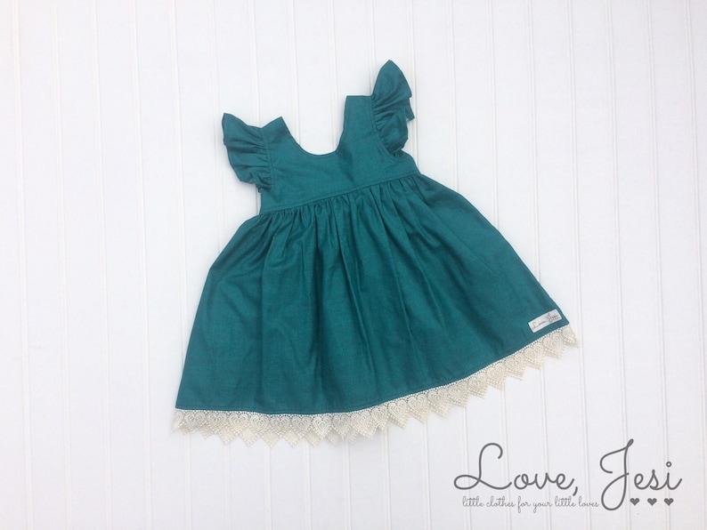 53b1bc5086 Little Girls Fall Dress Teal Girls Dress Toddler Girl Dress